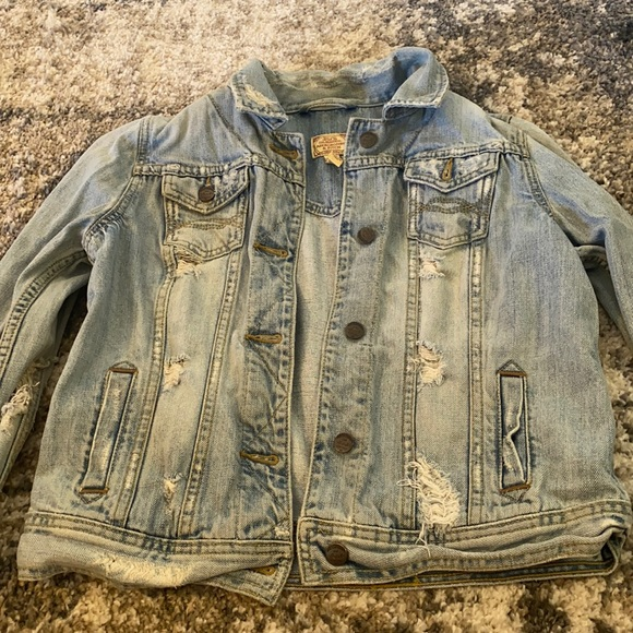 Abercrombie and Fitch Distressed Jean Jacket L